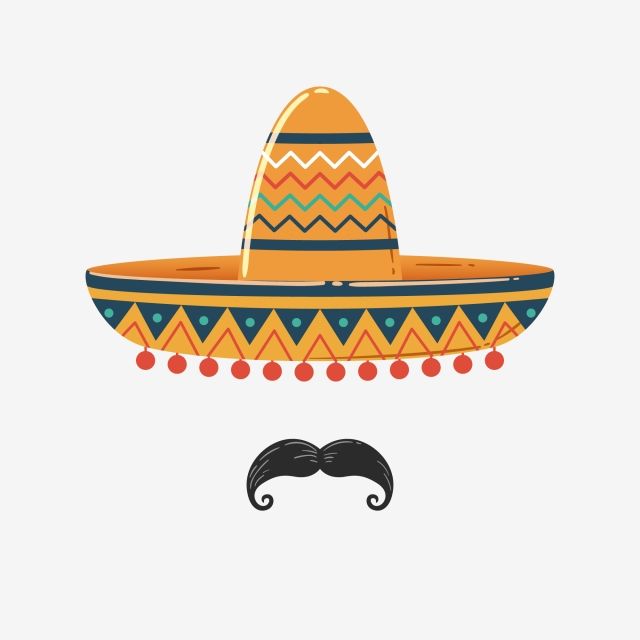 Mexican Sombrero With Mustache, Sombrero, Hat, Mexican PNG.