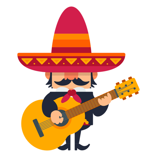 Mexican mariachi playing guitar.