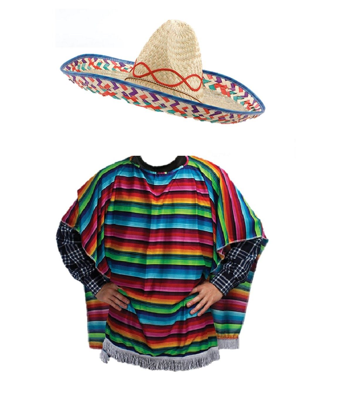 Details about Mexican Western Bandit Fancy Dress Costume Sombrero Poncho  Outfit.