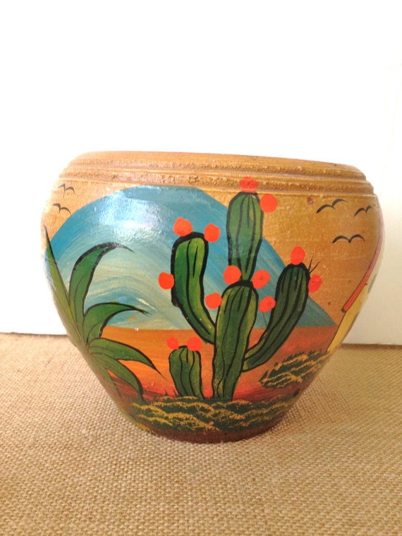 Cactus Pot Mexican Pottery VIntage Mexico Painted Pot Folk.