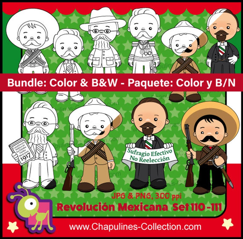 60% off Mexican Revolution Day Clipart Bundle Color and Black/White, and  Coloring Pages, México clipart, school clipart, Set 110 and 111.