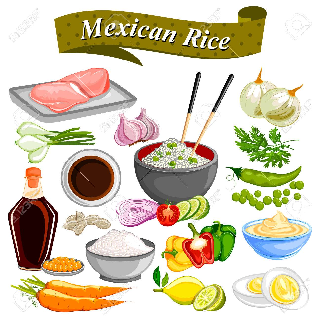 Food and Spice ingredient for Mexican Rice Bowl.
