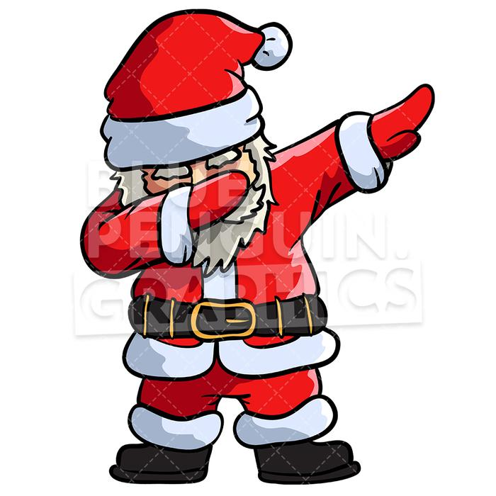Santa Dabbing Christmas Vector Cartoon Clipart Illustration.