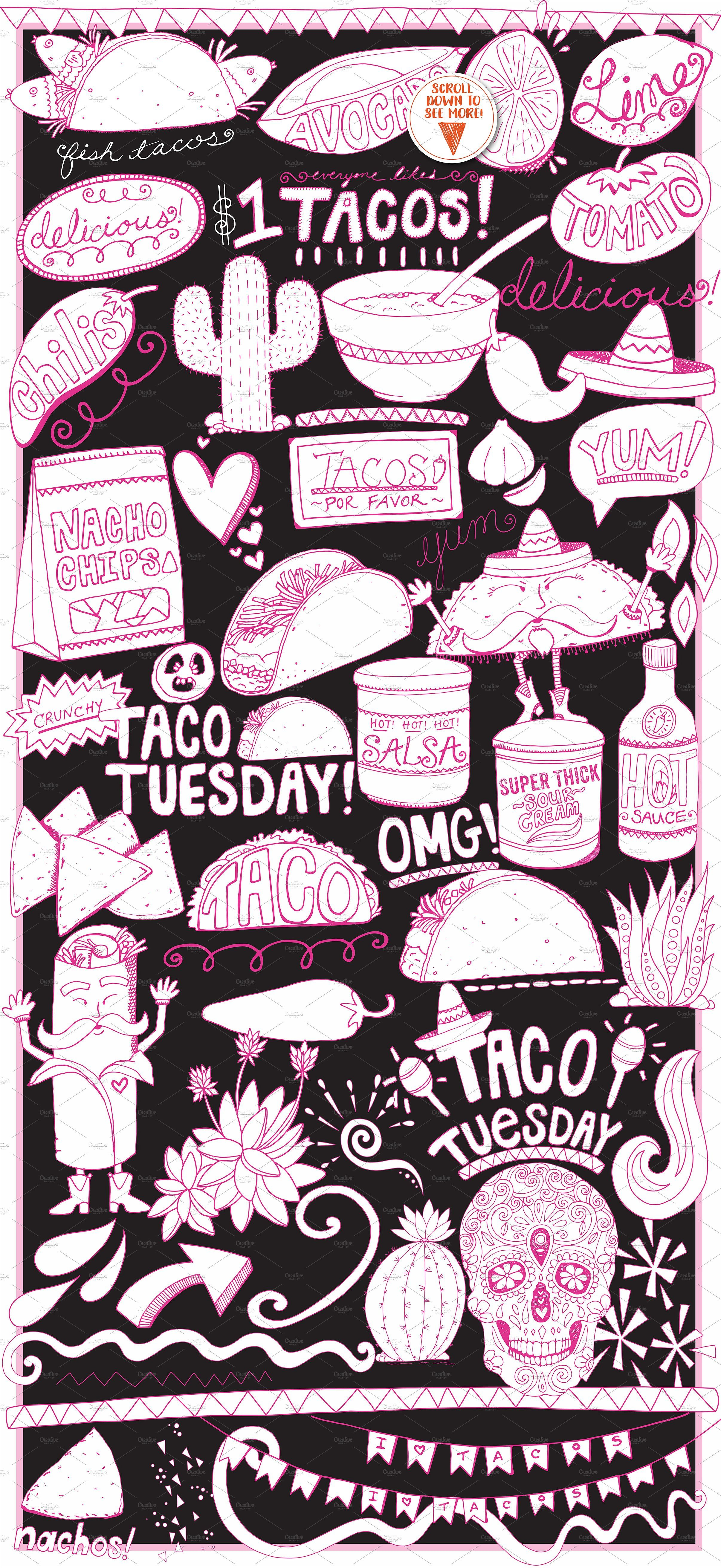 Mexican Food ClipArt, Line art illustrations + Silhouette.