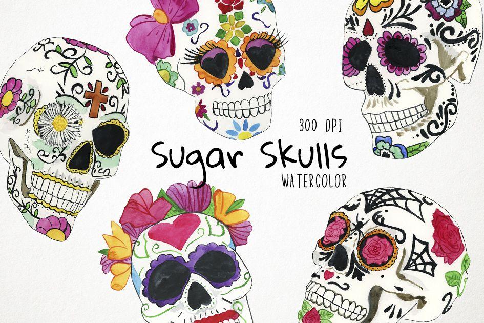Watercolor Sugar Skulls Clipart, Mexican Skull Clipart.