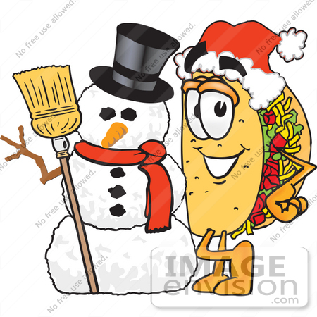 Clip Art Graphic of a Crunchy Hard Taco Character With a.