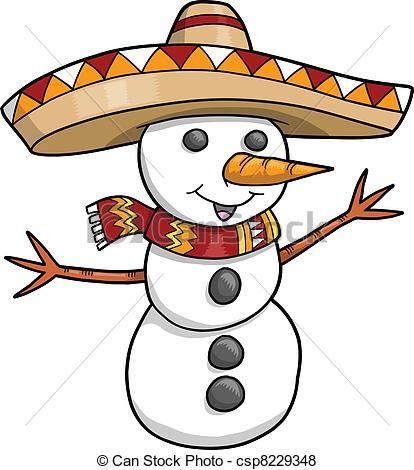 Mexican Snowman Clip Art.