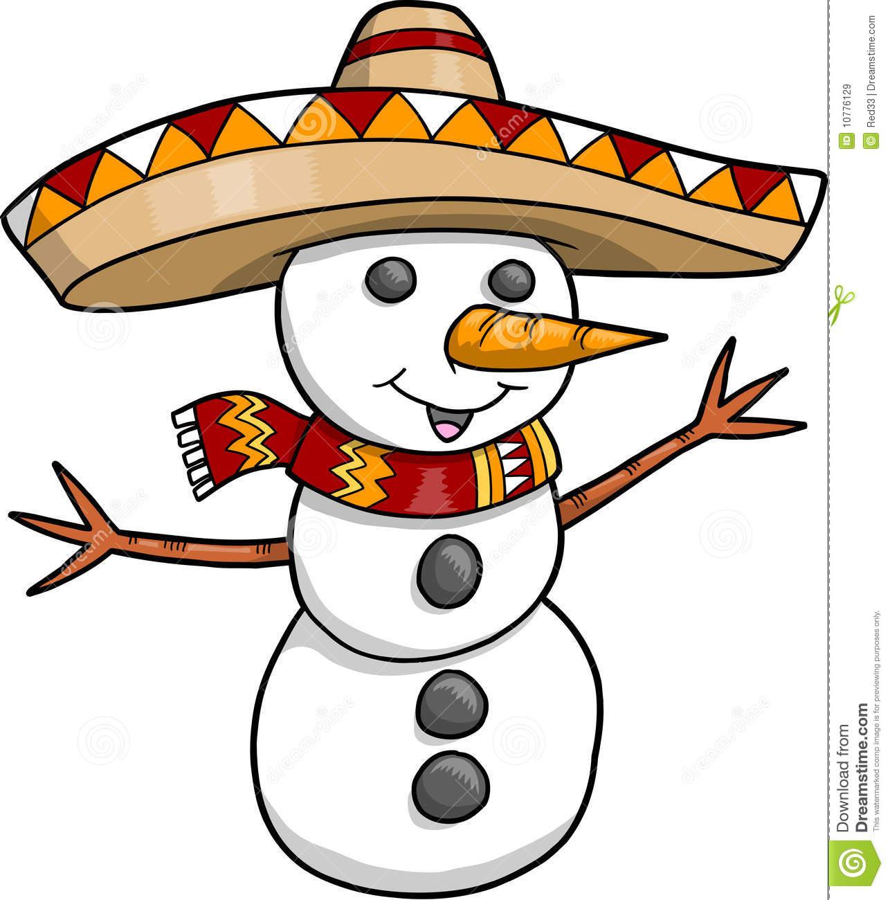 Sombrero Christmas Holiday Snowman Stock Vector.
