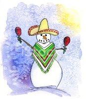 Mexican Snowman Playing Maracas stock vectors.