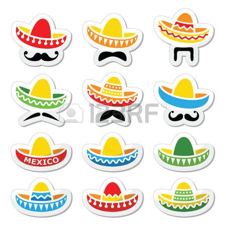 mexican: Mexican Sombrero hat with moustache or mustache.
