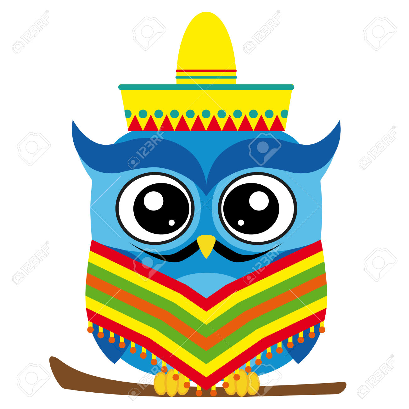 Funny Owl Cartoon Mexican Style Royalty Free Cliparts, Vectors.