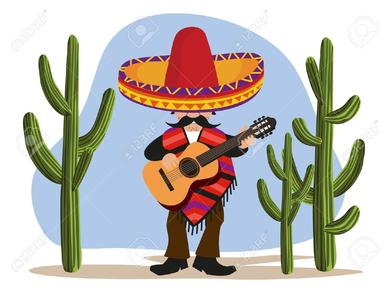 Mexican Playing Guitar Royalty Free Cliparts, Vectors, And Stock.