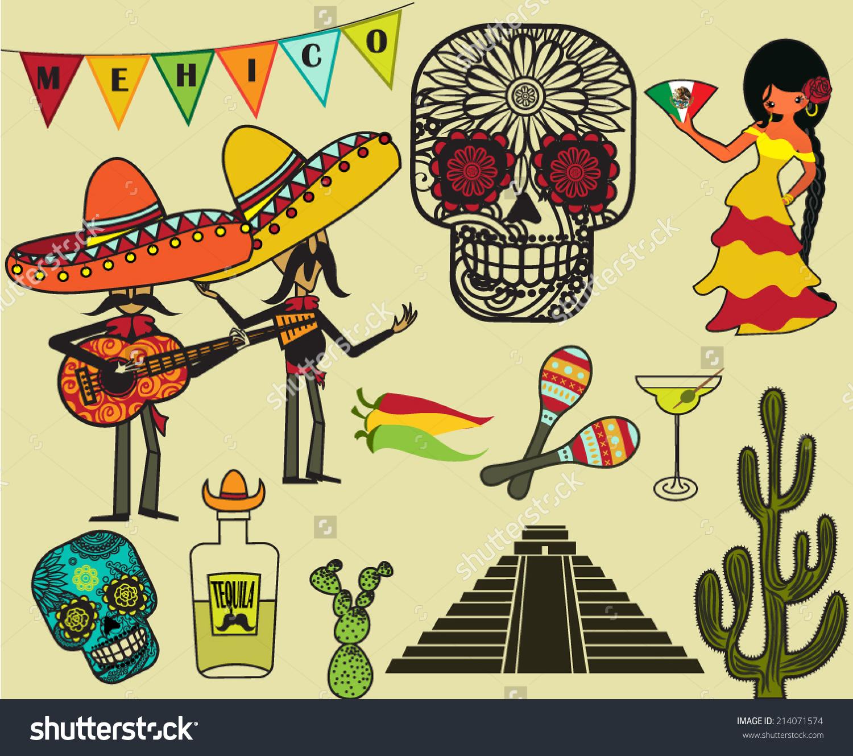 Mexico Clip Art Symbols Cartoon Style Stock Vector 214071574.
