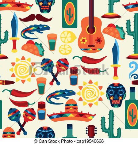 Clip Art Vector of Mexican seamless pattern with icons in native.