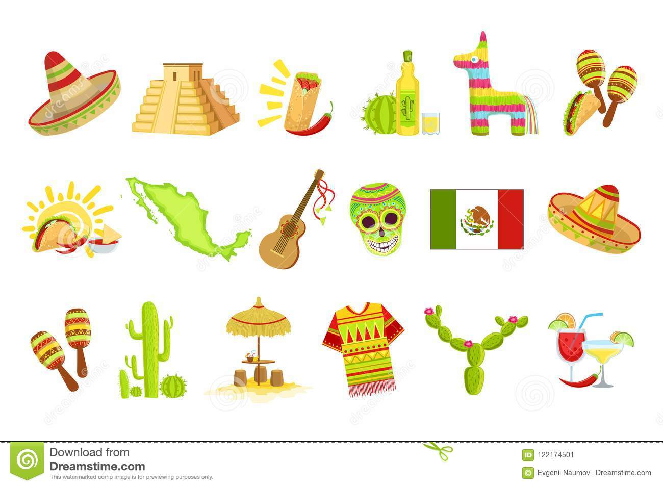 Mexican Culture Symbols Set Stock Vector.