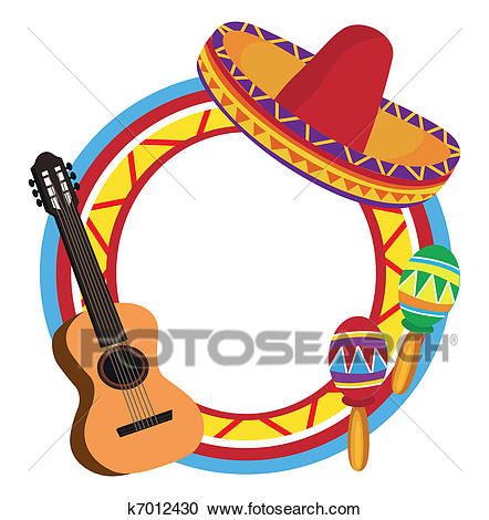Frame with Mexican Symbols Clipart.
