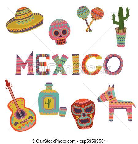 Mexico set, symbols of Mexican culture cartoon vector Illustrations.