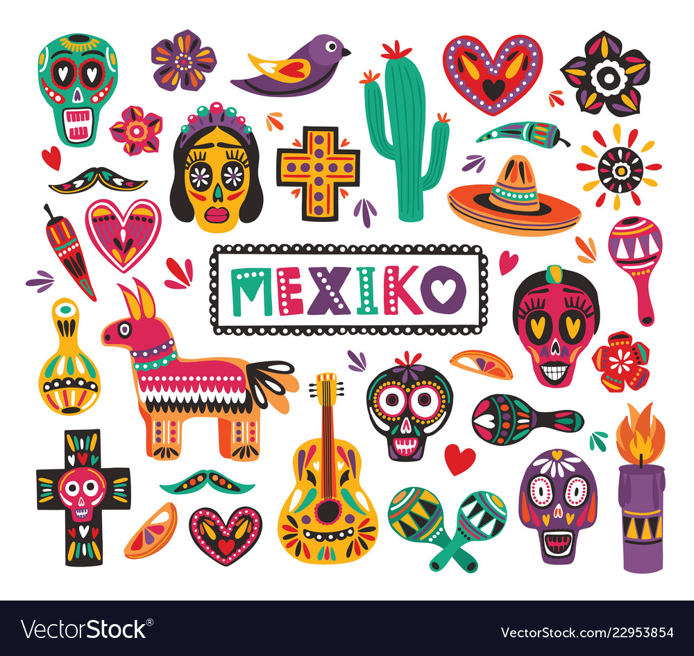 Set of national mexican symbols and traditional.