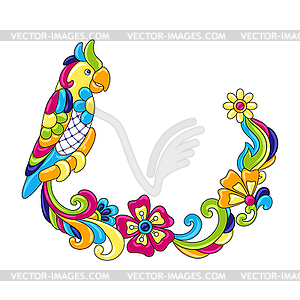 Decorative frame with tropical parrots. Mexican.