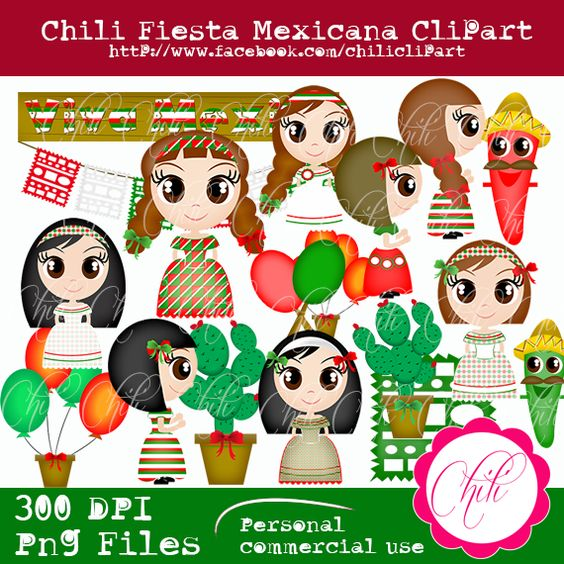 Chili Fiesta mexicana clipart.