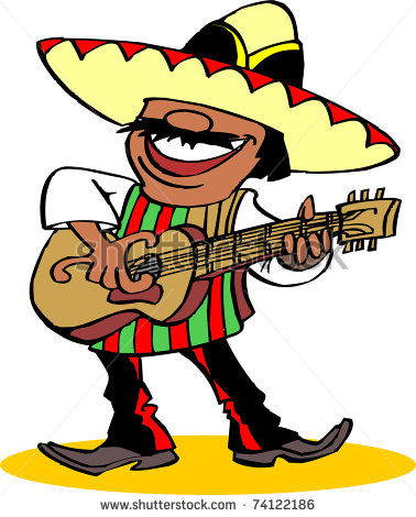 Mexican Guitar Mariachi Chili Pepper Clipart.