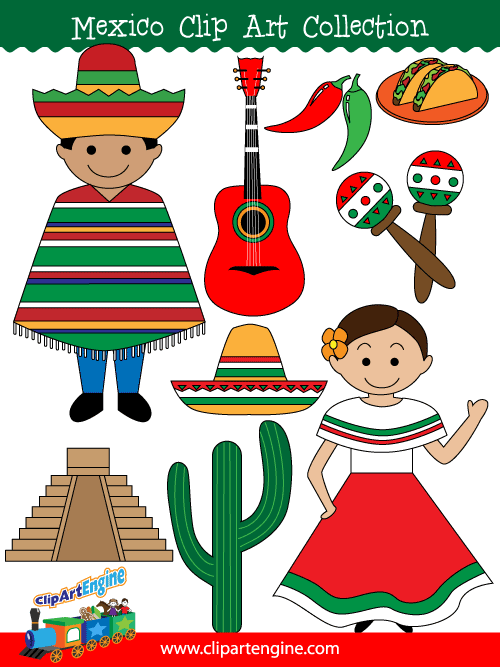 Mexico Clip Art Collection for Personal and Commercial Use.