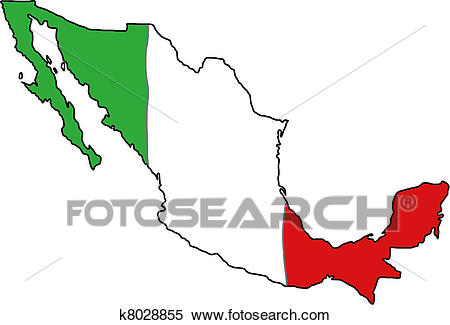 Mexico flag map Clipart.