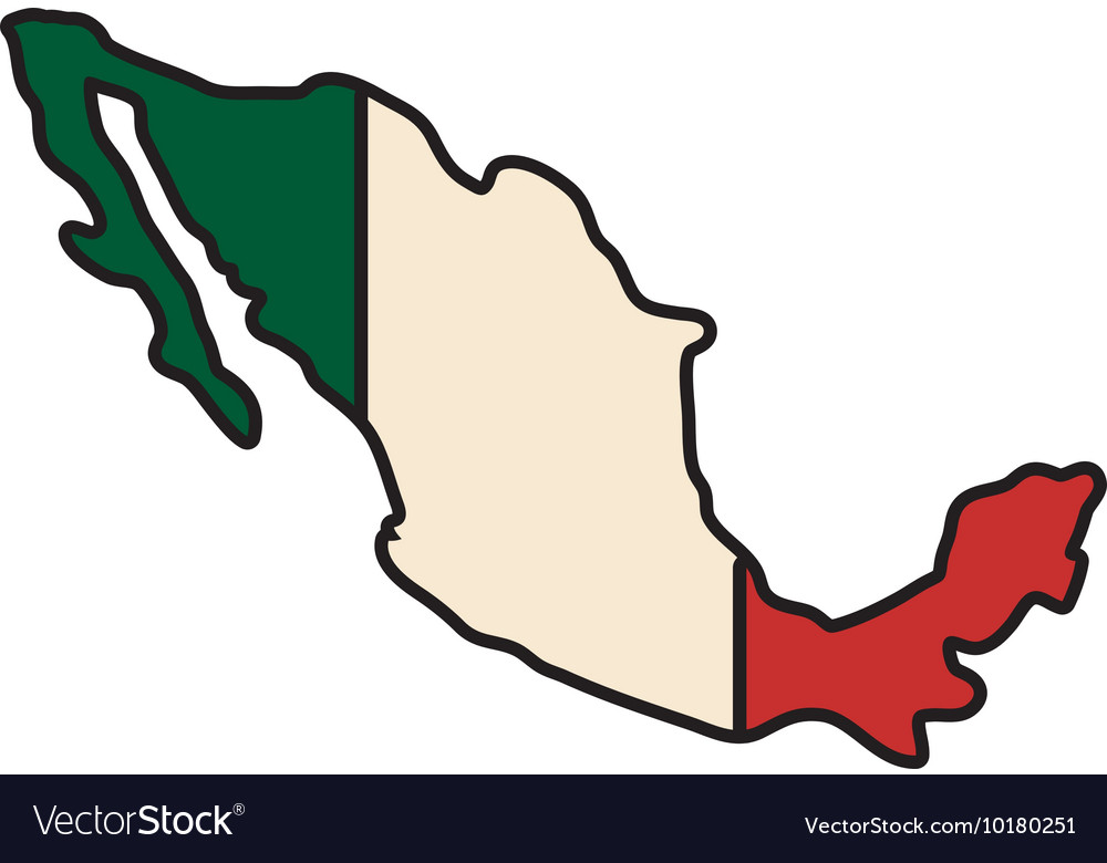 Mexico map flag icon graphic.