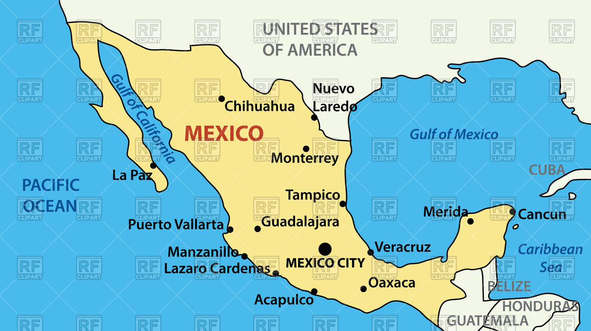 Map of Mexico Stock Vector Image.