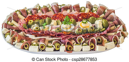 Stock Images of Plateful of Serbian Savoury Appetizer Meze.