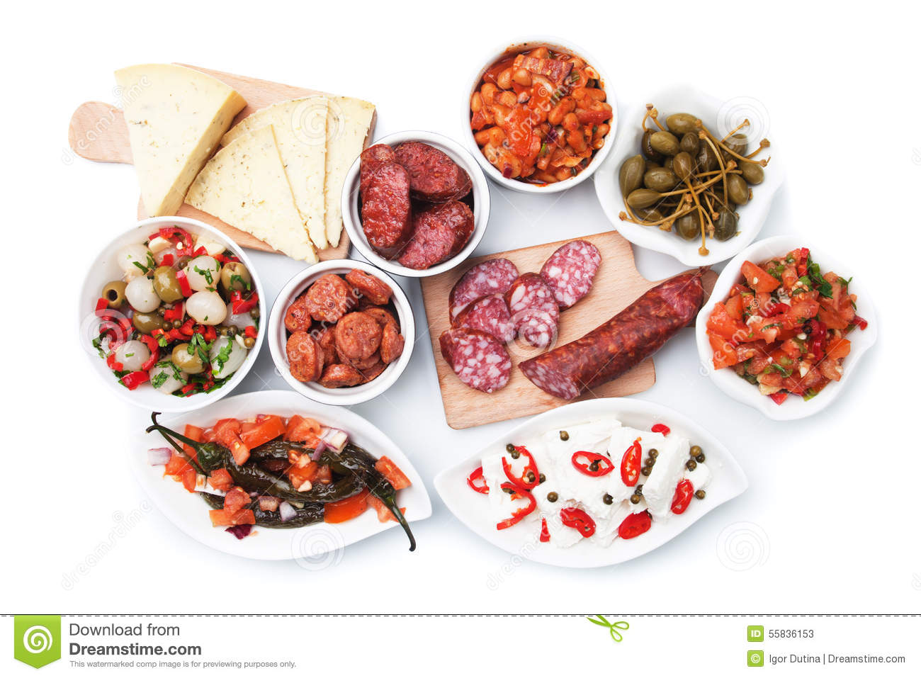 Tapas, Antipasto, Meze Stock Photo.