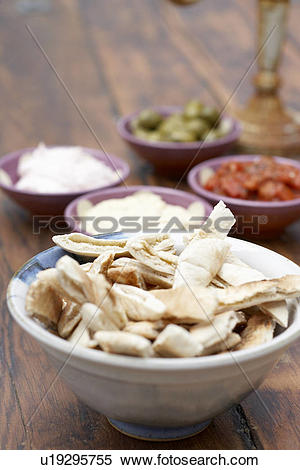 Stock Image of Pitta breads and snacks /Appetisers/ Meze u19295755.