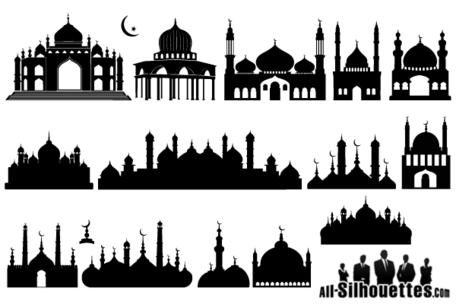 Mezquita islámica silueta, free vectors.