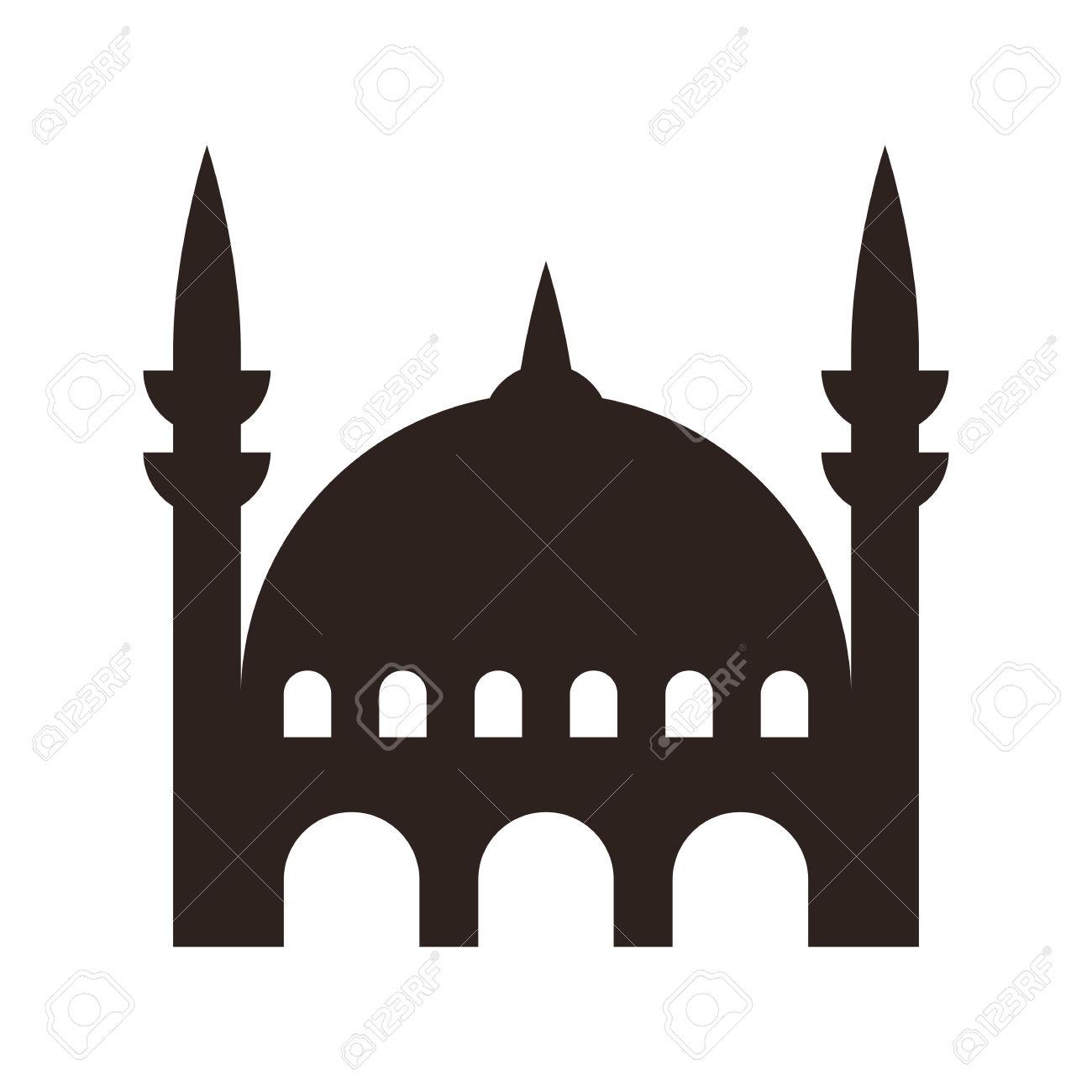 Icono Mezquita Aislado En Blanco Ilustraciones Vectoriales, Clip.