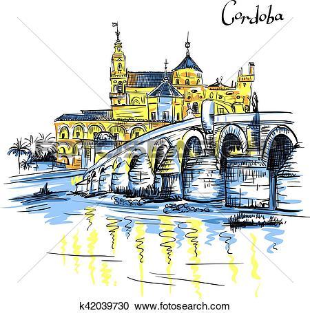 Clipart of Vector Mezquita and Roman bridge in Cordoba, Spain.
