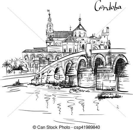 EPS Vector of Vector Mezquita and Roman bridge in Cordoba, Spain.