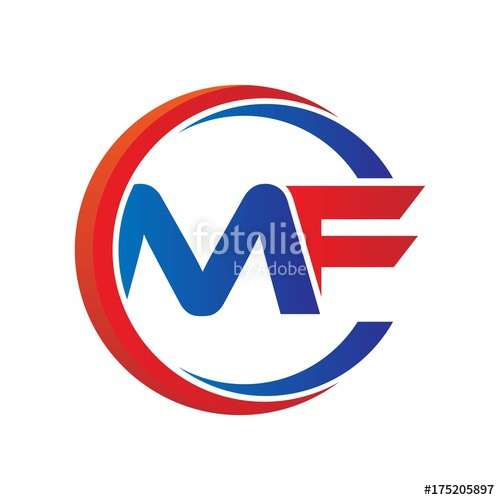 mf logo vector modern initial swoosh circle blue and red.