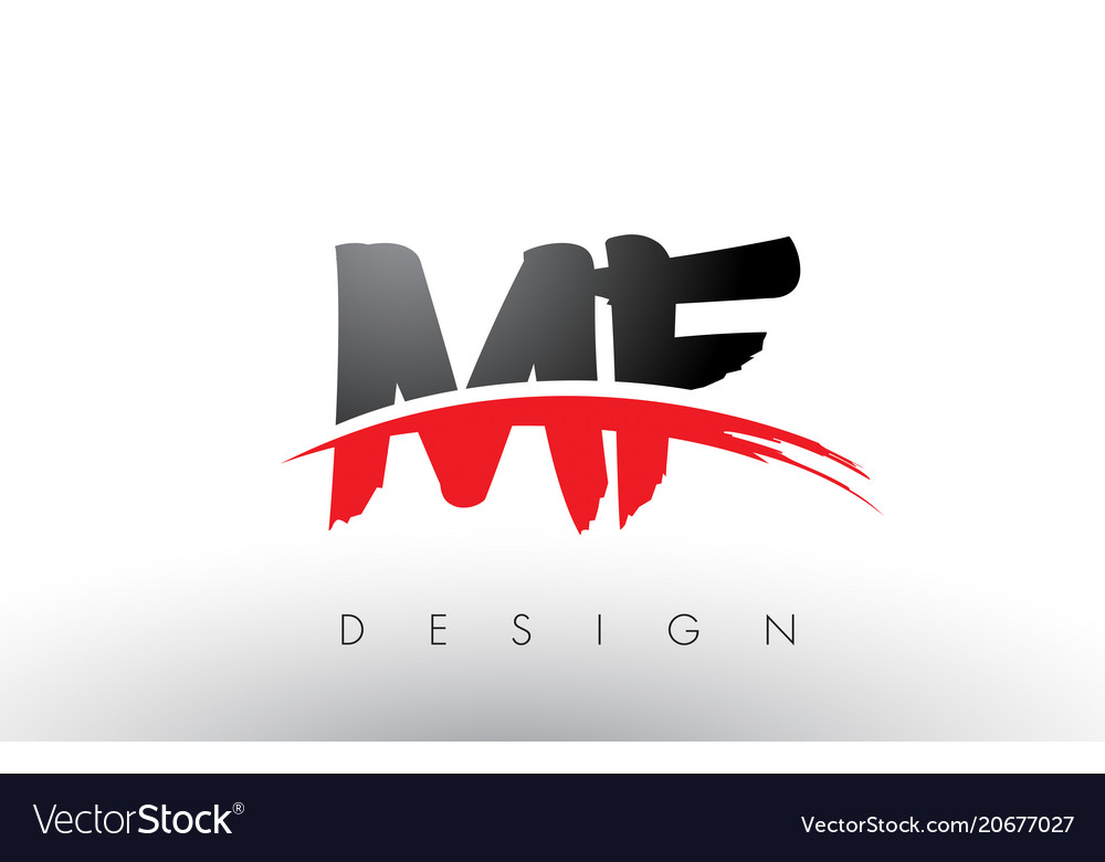 Mf m f brush logo letters with red and black.