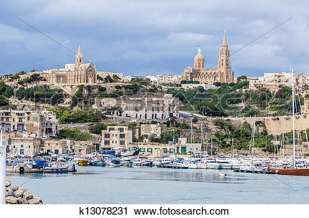 Stock Photography of Parish church in Mgarr, on the eastern coast.