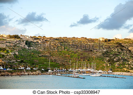 Stock Photo of Port of Mgarr at sunset on the small island of Gozo.