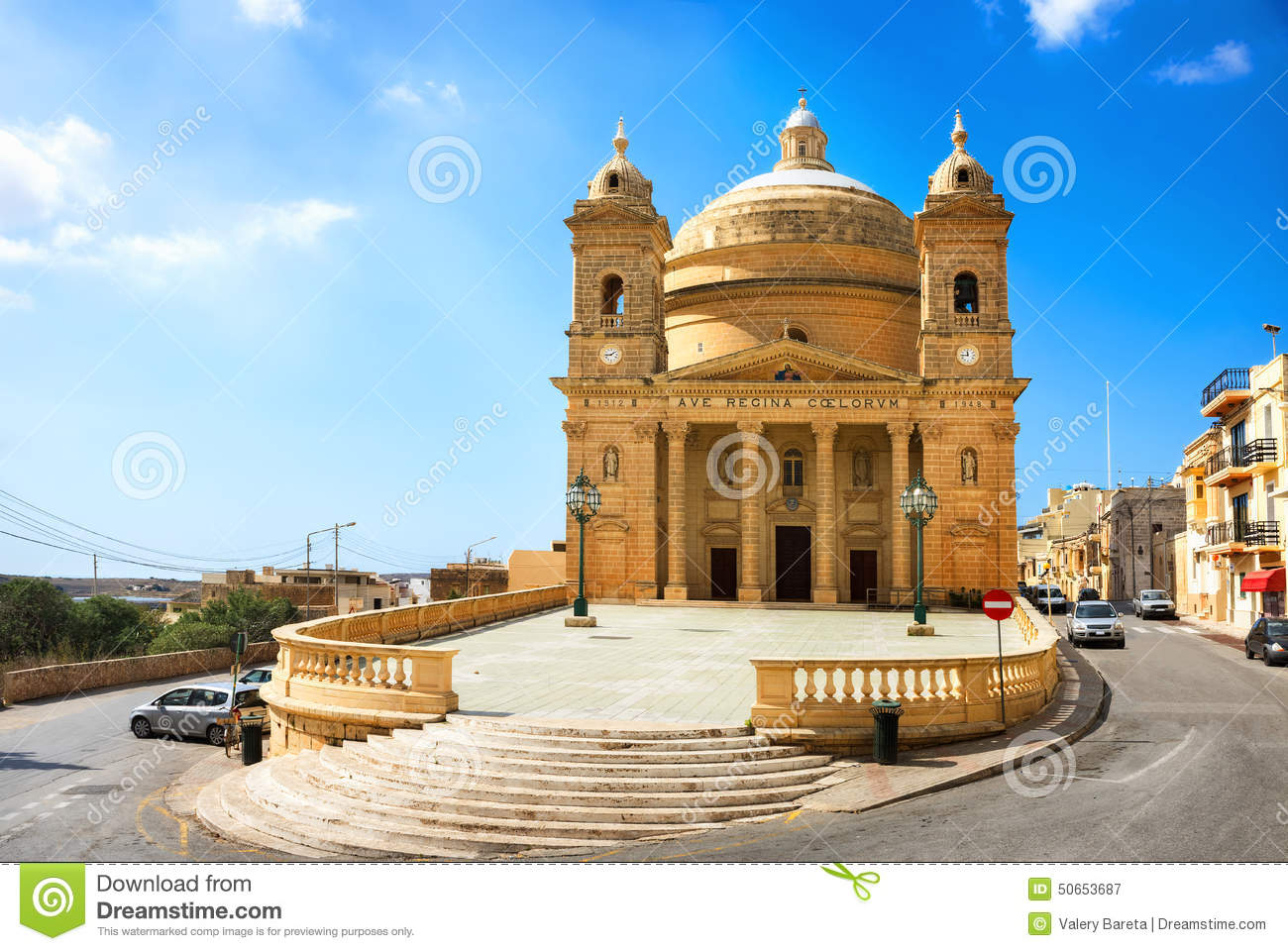 Old Church In Mgarr Stock Photo.