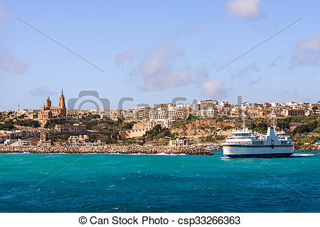 Stock Image of Port of Mgarr on the small island of Gozo. Ferry.