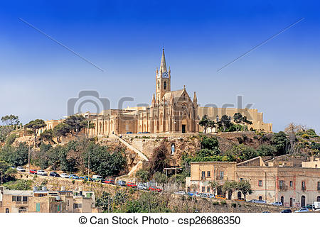 Stock Images of Parish church in Mgarr on Gozo Island Malta.