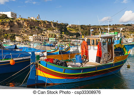 Picture of Port of Mgarr on the small island of Gozo, Malta.