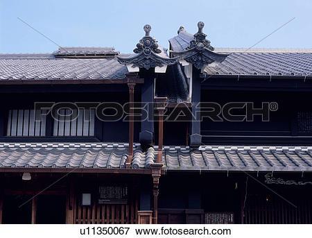 Picture of Tiled Roof, Mino, Gifu, Japan u11350067.