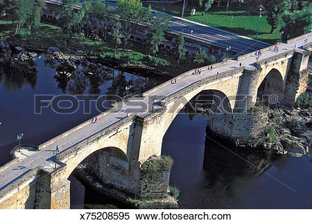 Stock Image of Orense. Galicia (Spain) Roman bridge on the river.