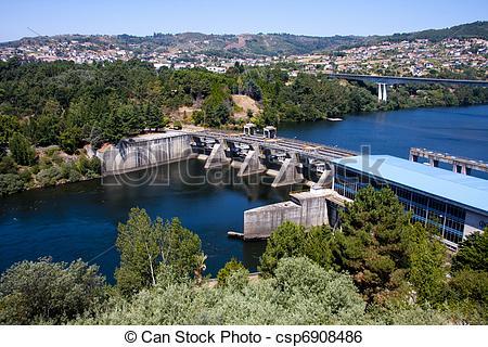 Stock Image of Miño river reservoir in Orense, Galicia, Spain.