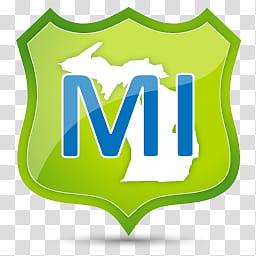 US State Icons, MICHIGAN, Mi logo transparent background PNG.