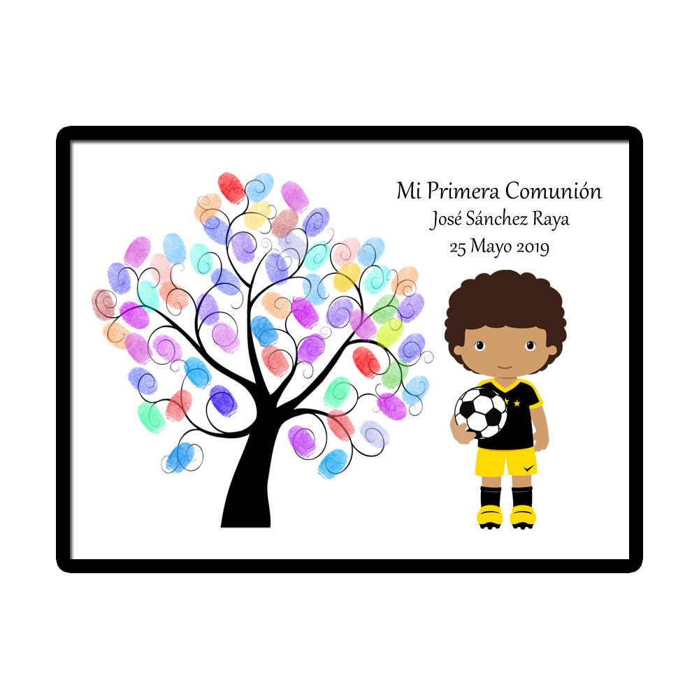 Customized Theme Name Date Kids Football Mi Primera Comunion Fingerprint  DIY Canvas Guestbook For First Holy Communion Souvenir.