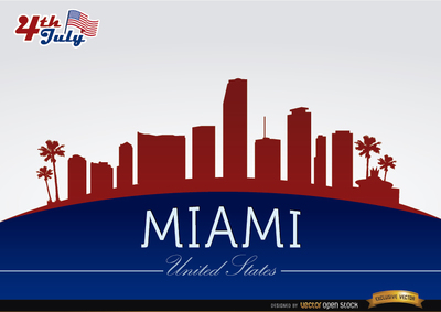 Miami skyline on July 4th commemoration, Vector Images.
